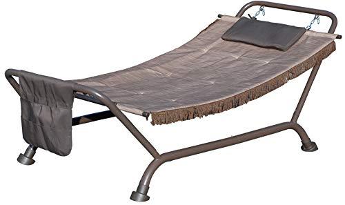 SF SAVINO FILIPPO Tumbona hamaca con cojín soporte base de acero inoxidable tela de PVC marrón resistente carga 120 kg para jardín, piscina, camping, playa