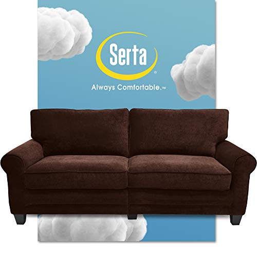 """Serta Copenhagen 73"""" Sofa - Pillowed Back Cushions and Rounded Arms, Durable Modern Upholstered Fabric - Brown"""