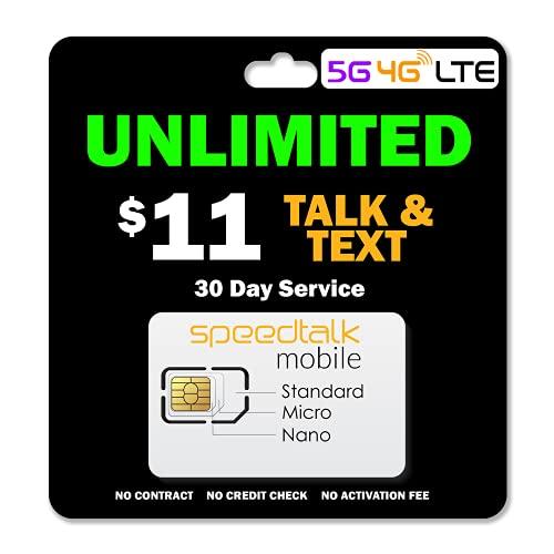 SpeedTalk Mobile $11/Month - Unlimited Talk & Text - 3-in-1 SIM Card - 30 Days Nationwide Service 5G / 4G-LTE