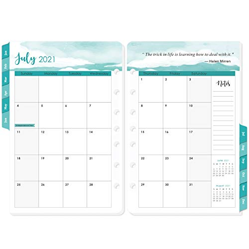 """2021 Planner Refills - 2021 Planner Refill, Planner Inserts, 5-1/2"""" x 8-1/2"""", Jan 2021-Dec 2021, 7-Hole Punched, Refill Paper 2021"""