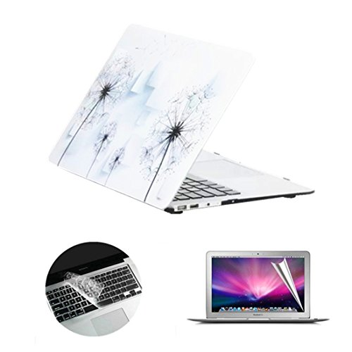 Se7enline Macbook Pro Retina 13 Case Frosted Soft Touch Hard Shell Case Cover with Clear Silicone Keyboard Skin and Screen Protector for 13 inch Macbook Pro Retina A1502/A1425, White Dandelion Pattern