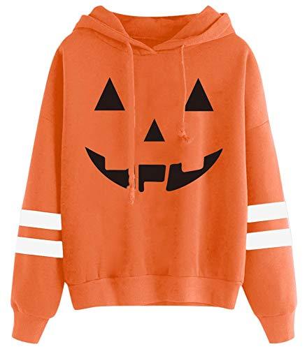 Spadehill Halloween Damen Langarm Lustig Kürbis Skelett Hoodies - Orange - Mittel