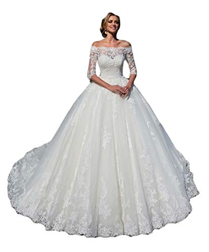 Rmaytiked Women's Wedding Dresses Ball Gown 3/4 Sleeves Lace Tulle Off The Shoulder Wedding Dresses for Bride White
