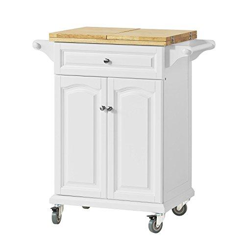 SoBuy Carrello di servizio, piano in legno di Hevea,Scaffale da cucina, tavolo estensibile,FKW36-WN,IT