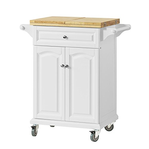 SoBuy® Kitchen Trolley with Extendable Worktop, Kitchen Storage Trolley Cart with Dining/Bar Table, FKW36-WN