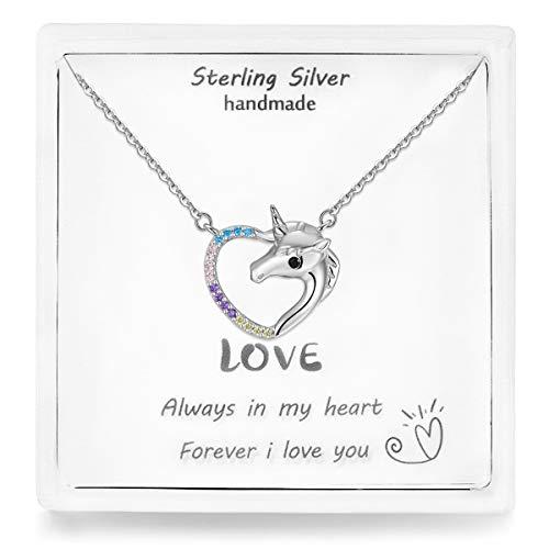 Qings Halskette Damen Kette Einhorn Silber 925 Sterling Silber Herz Anhänger mit Bunt Zirkonia Schmuck Geschenk für Mädchen Weihnachten Geburtstag