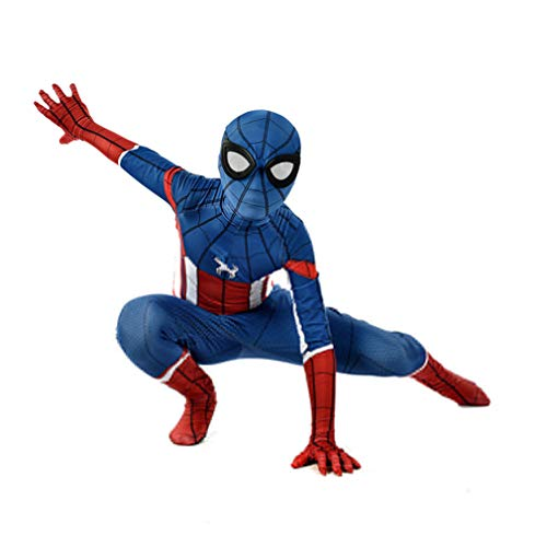 LINLIN Bambini Unisex Spider Man Capitan America Costume Cosplay Halloween Carnival Party Collant 3D Stampa Onesies Set Lycra Spandex Zentai, Child M(110~120cm)