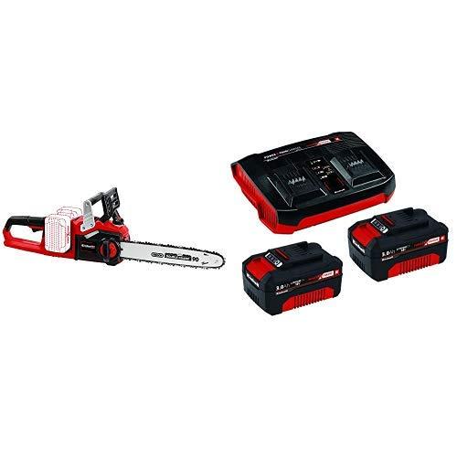 Einhell GE-LC 36/35 Li-Solo BL - Motosierra a batería Power X-Change, 2x18 V + Kit de iniciación PXC 2 x 3,0 Ah y el kit de cargador doble
