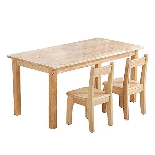 Renovation House Kindertisch- und Stuhl-Set Multifunktionaler Eichen-Kinderarbeitstisch und Stuhl Moderner Schreibtisch mit 1 Tisch und 2 Stühlen Rutschfeste Sitzfläche Abgerundete Ecken und Kanten A
