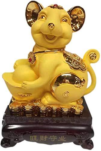 LULUDP-Decoración Decoraciones Chinese Ornaments Chino 2020 del Zodiaco de la Rata/ratón Estatua Estatuilla del Ministerio del Interior Decoración Riqueza y Buena Suerte Oro Escultura Manualidades