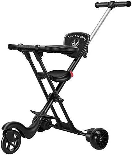 CASILE Kinder Dreirad - Faltbar Kohlenstoffstahl Kinder Tricycle mit Lenkbarer Schubstange,für Jungen und mädchen ab 12 Monate -5 Jahre,schwarz