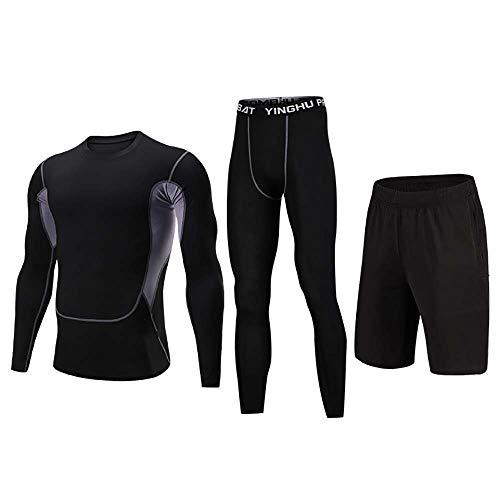 BWCX Juego de Deportes Deportivos para Hombres Camisa de compresión + Pantalones de Manga Larga con Pantalones de Piel de Secado rápido,M