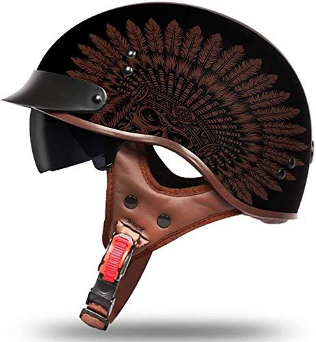 ZYWW Casco de motocicleta retro para adulto, para motocicleta, Harley, medio casco, certificación DOT, para hombres y mujeres, estilo dominante, para bicicleta, scooter, medio casco, indio, XL