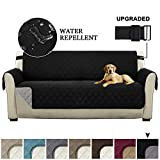Turquoize Reversible Couch Cover Sofa Slipcover Quilted Sofa Cover for Living Room Sofa Protector with Elastic Straps Seat Width Up to 66' Furniture Cover for 3 Cushion Couch (Sofa - Black/Gray)