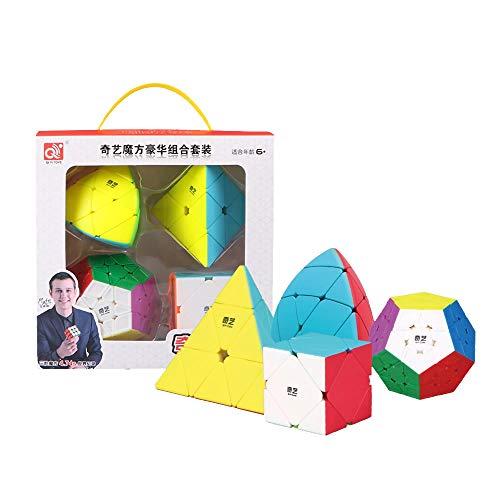 OJIN Cube Bundle Megaminx & Skewb & Megamorphix & Pyramid Bright Cube Set sin Etiqueta con Embalaje de Regalo + Cuatro trípodes