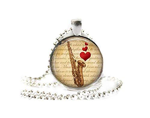 Saxophon-Herz, Notenblätter, Saxophon-Halskette, Saxophon-Schmuck, Geschenk, Saxophon-Geschenk, Musik-Schmuck