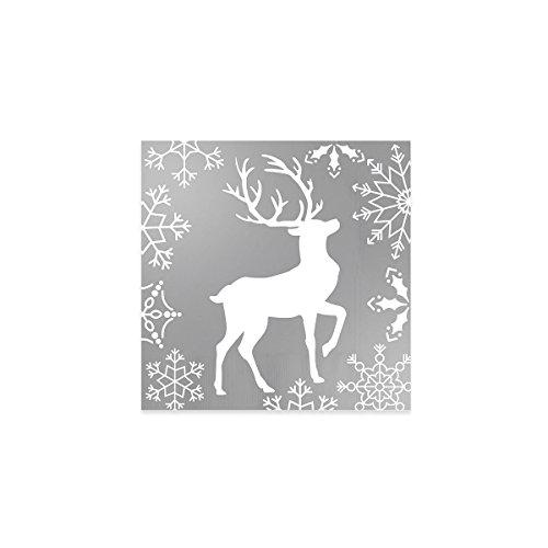 Servilletas de papel plateadas decoradas con diseño de reno - Colección Navidad - 33 x 33 cm - 20 unidades