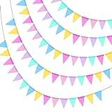 KATOOM 4er Wimpelkette Mehrfarbig Dreieck Flaggen Wimpelbanner Wimpelgirlande Draußen Jute Wimpel Bunt Banner Vintage Hochzeit Outdoor Girlande Leinen Einschulung Deko für Geburtstag Party Dekoration