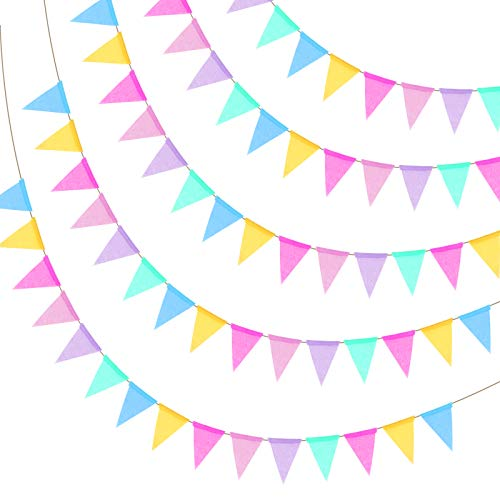 Multicolor Burlap Bunting KATOOM 60 Pcs Triangle Flags Hessian Banner Garland Hanging Pennant for Wedding Birthday Party Graduation Decor Photo Prop