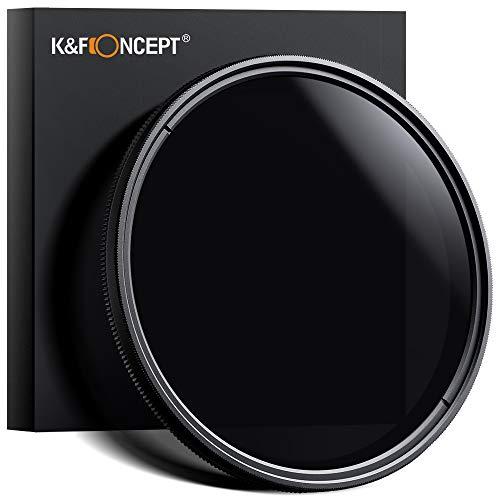 K&F Concept Filtre ND 58mm Variable Densité Neutre Filtre Fader Réglable ND2 ND4 ND8 ND16 ND32 à ND400 + Chiffon de Nettoyage Pour Lentille Pour CANON EOS Rebel T5i T4i T3i T3 T2i T1i XT XTi XSi SL1 DSLR Caméra Lentille