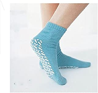 Medline Blue Adult Soft Knit Gripper Slippers - 1 Size Fits Most - 12 Pairs