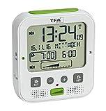 TFA Dostmann Boom - Despertador inalámbrico con Alarma de vibración, función de repetición, Volumen y Brillo, iluminación Nocturna automática, Color Blanco