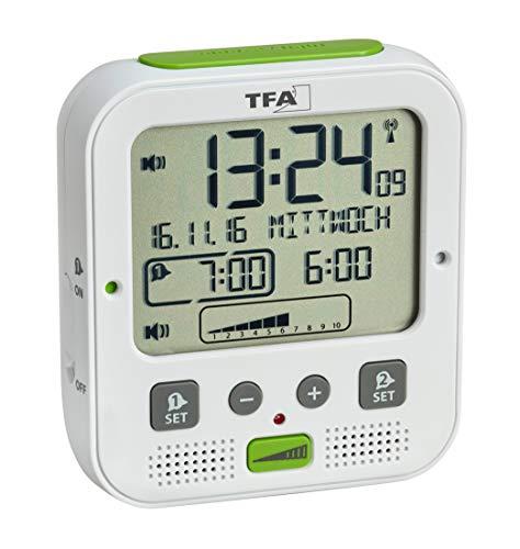 TFA Dostmann Boom Funkwecker, Laut mit Vibrationsalarm, Snooze-Funktion, einstellbare Lautstärke und Helligkeit, autom. Nachtbeleuchtung, weiß