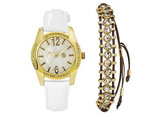 Auriol Damen Uhr Analog Quarz Uhrwerk Armbanduhr + Schmuckset Weiß