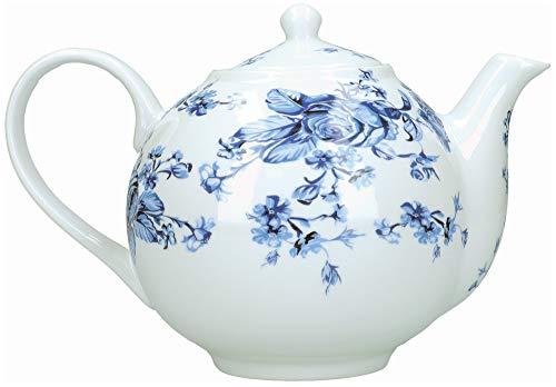 Mikasa Hampton - Tetera (porcelana, 1 L), diseño floral, color blanco y azul