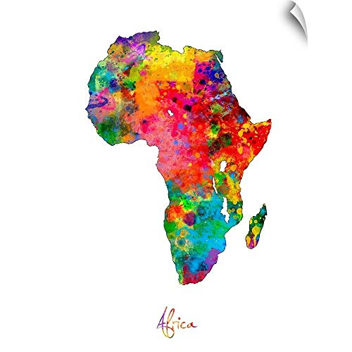 CANVAS ON DEMAND Africa Watercolor Map Wall Decal, 45'x60'
