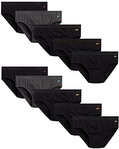 Reebok Men's Underwear – Low Rise Briefs with Contour Pouch (10 Pack), Size Medium, Black/Charcoal
