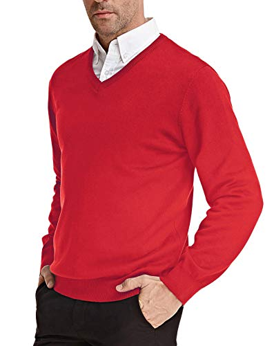 Men's V-Neck Pullover Sweater Basic Long Sleeve Knitting Sweater(Red, Size XL)