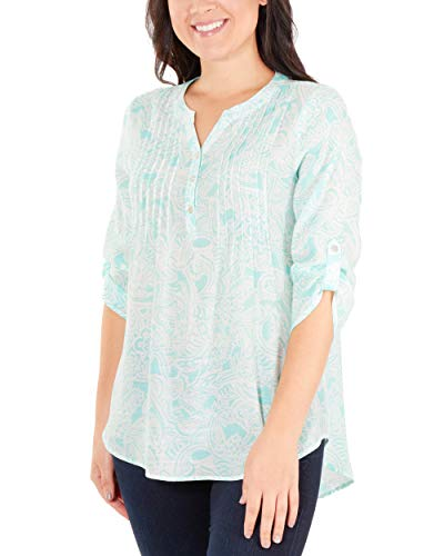 NY Collection Women's Petite 3/4 Sleeve Front Pleated Top