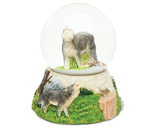COTA Global Wolf Snow Globe Polyresin Forest Wild Life Animal Collection Jungle Dog Nautical Theme Room Decor Table Top Accent Size: 3.55 x 3.75 inches Novelty Craft Decorative Gift