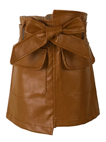 JEATHA Kids Girls PU Leather Motorcycle Style Outfits Long Sleeve Crop Tops/Bowknot Mini Skirt Y2K Clothing Brown 3-4 Years