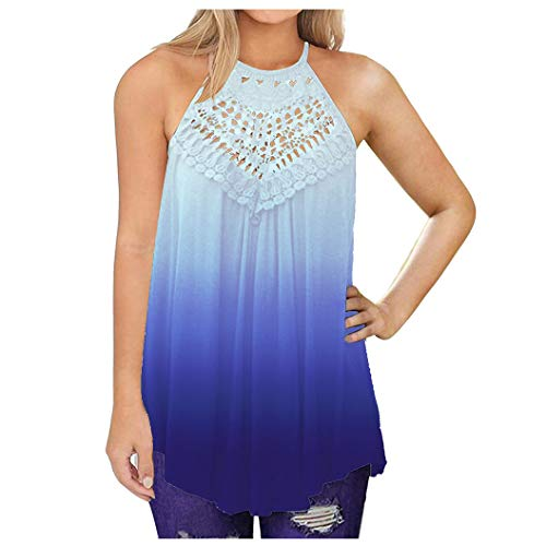 Womens Tank Top Casual Tops Mlide Summer Sleeveless Blouse Boho Lace Tshirt 2020 New Gradient Loose Sweatshirt Blue