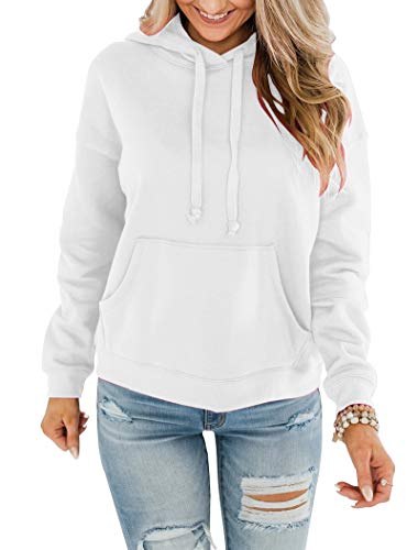 Bingerlily Women's Casual Hoodies Long Sleeve Solid Lightweight Pullover Tops Loose Sweatshirt with Pocket (White,Small)