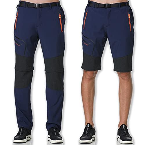 SOLOYEE Herren Wanderhose Zip Off Abnehmbar Trekkinghose Outdoor Funktionshose Wasserdicht Schnelltrocknend Softshellhose mit Taschen Einstellbar Gürtel,Blau XL