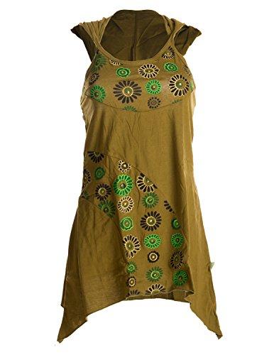 Vishes – Alternative Bekleidung – zipfeliger Neckholder aus Baumwolle mit Zipfelkapuze – mit Blumen Bedruckt und Bestickt Olive 38
