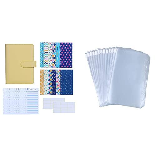 Antner 27pcs A6 PU Leather Binder Budget Cash Envelopes System (Yellow) Bundle   12 Pieces A6 Size Binder Pockets