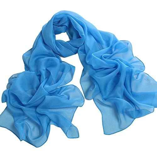 XdiseD9Xsmao lange lichte chiffon sjaal mode vrouwen effen hals wikkelen sjaal stola blauw