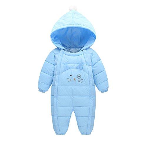 AHATECH Unisexe Bébé Combinaison Hiver Chaude à Capuche Barboteuse Bébé Garçon Fille Grenouillères -Bleu Ciel