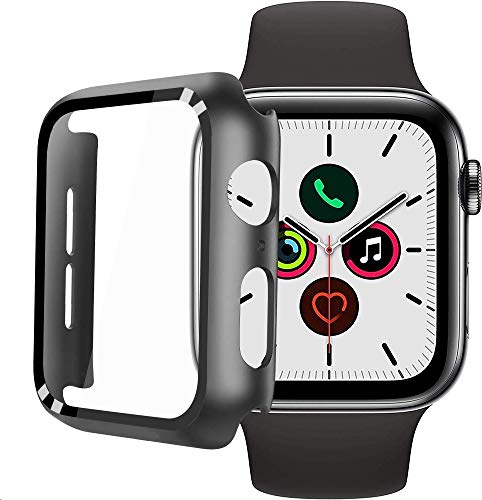 FANIER Hard Case for Apple Watch Series 5 / Series 4 44mm with Built-in Tempered Glass Screen Protector [ Waterproof] [3D Full Coverage] All Around Cover Bumper Case for iwatch 44mm Series 4/5