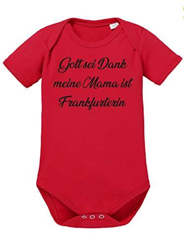 clothinx Gott Sei Dank, Meine Mama ist Frankfurterin, Lustiges Fussballmotiv Baby Body Bio Rot Gr. 50-56