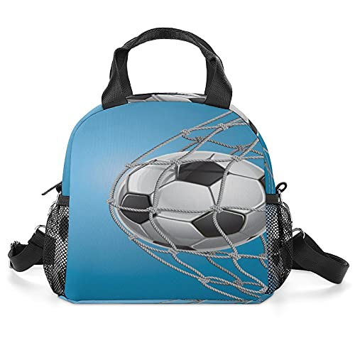 Insulated Lunch Bag Women Reusable Fashion Lunch Box Goal Football in Net Entertainment Playing for Winning Active Lifestyle Theme Tote Bag