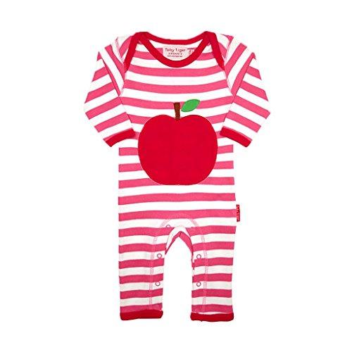 Toby Tiger Organic Cotton Pink Apple Applique Sleepsuit, Combinaison Bébé Fille, Rose, FR: 12 Mois (Taille Fabricant: 6-12 Months)