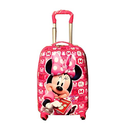 D's PARADISE Cartoon Print Pink Minnie Mouse 16 INCHES Polycarbonate Luggage/Travel Suitcase Trolley Bag for Girls and Kids