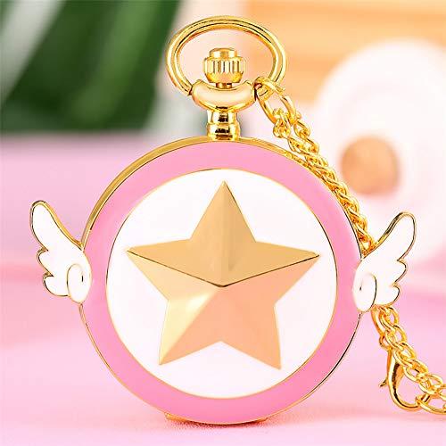 FHLKP Arabische Ziffern Anzeige Quarz Taschenuhr Exquisite Goldkette Kette schöne rosa weiße Anhänger Uhr