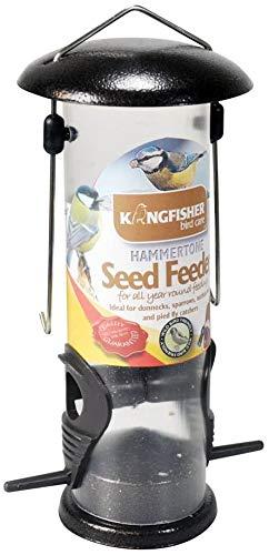 Greenfields Mangeoire à graines pour oiseaux Finition martelée avec partie supérieure amovible facile avec dessus en métal suspendu Idéal pour les Dunnocks, moineaux, chenilles et pied
