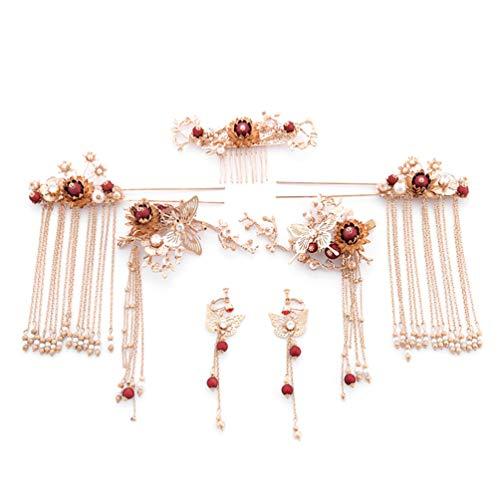 Amosfun tocado de novia joyería tradicional de la boda alfileres para el...
